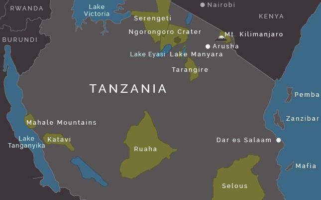 Tanzania Destinations Map